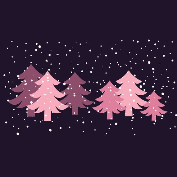 Blue And Green Christmas Tree: Winter Wonderland Blue-Green And Pink Christmas Trees With