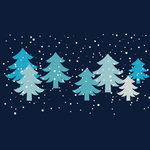 Winter Wonderland - Blue-Green and Pink Christmas Trees with Falling Snow - Digital Clip Art