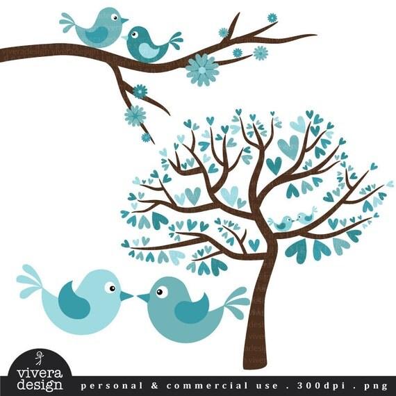 Love Birds in Turquoise - Digital Clip Art