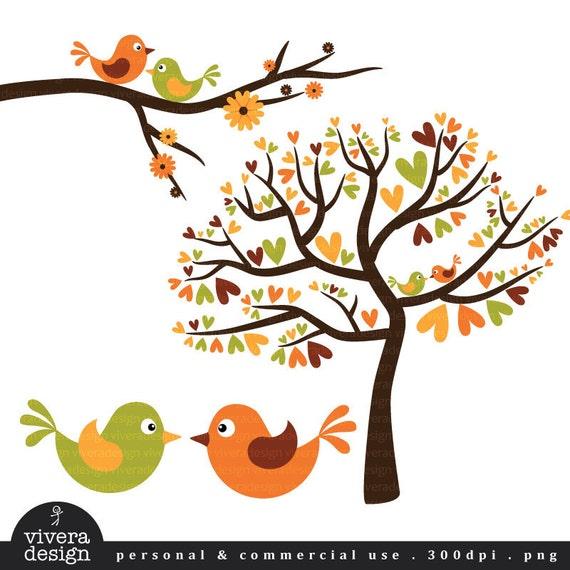Love Birds in Fall Colors Autumn Love Birds with Orange