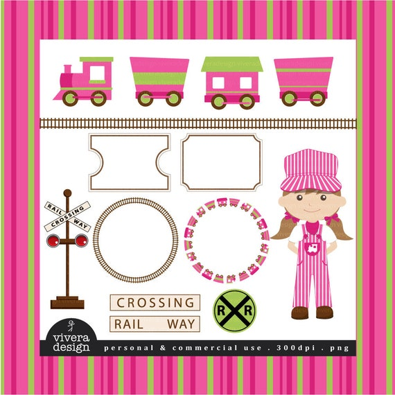 All Aboard the Party Train Clip Art - in Bright Pink and Lime Green - For Girls