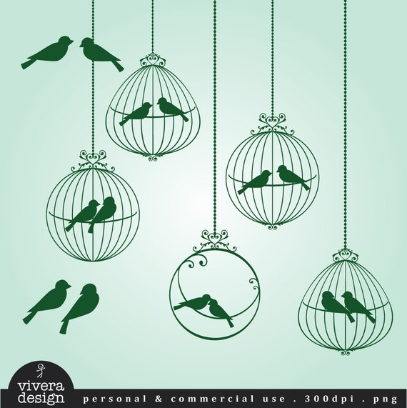 Love Birds Clip Art in Ornamental Birdcages - Dark Green