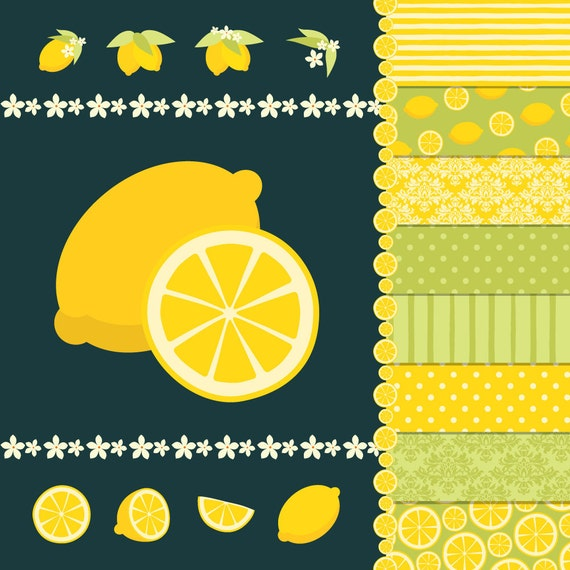 Digital Clip Art Pack - Freshly Squeezed Lemon - 12 clip arts and 12 papers