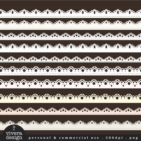 Lacy Ribbons in Shades of White - Digital Clip Art