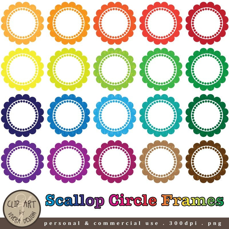 20 digital scallop circle frames digital clip art