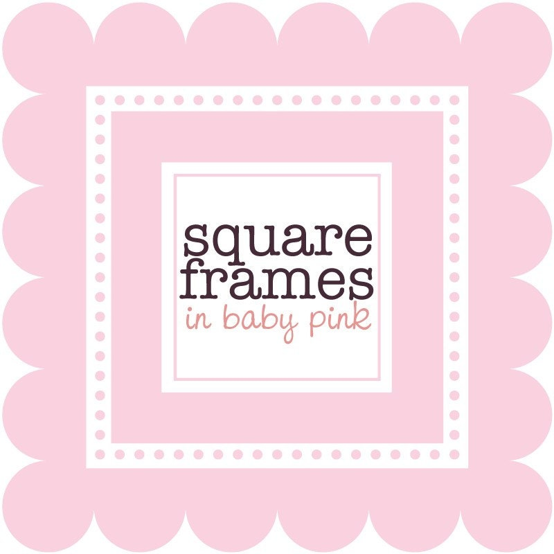 clip art digital square frames in baby pink by viveradesign