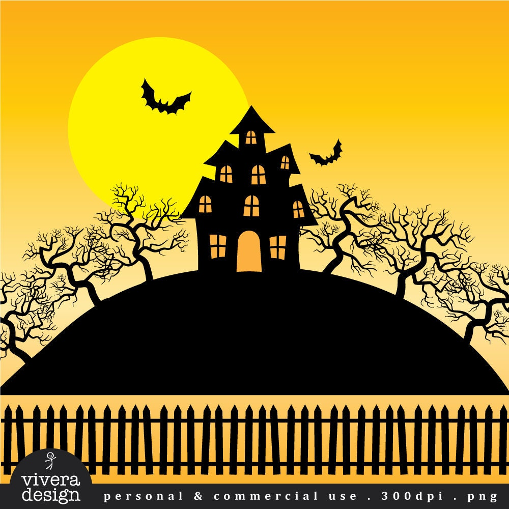 Halloween Clip Art Haunted House Creepy Mansion and Trees