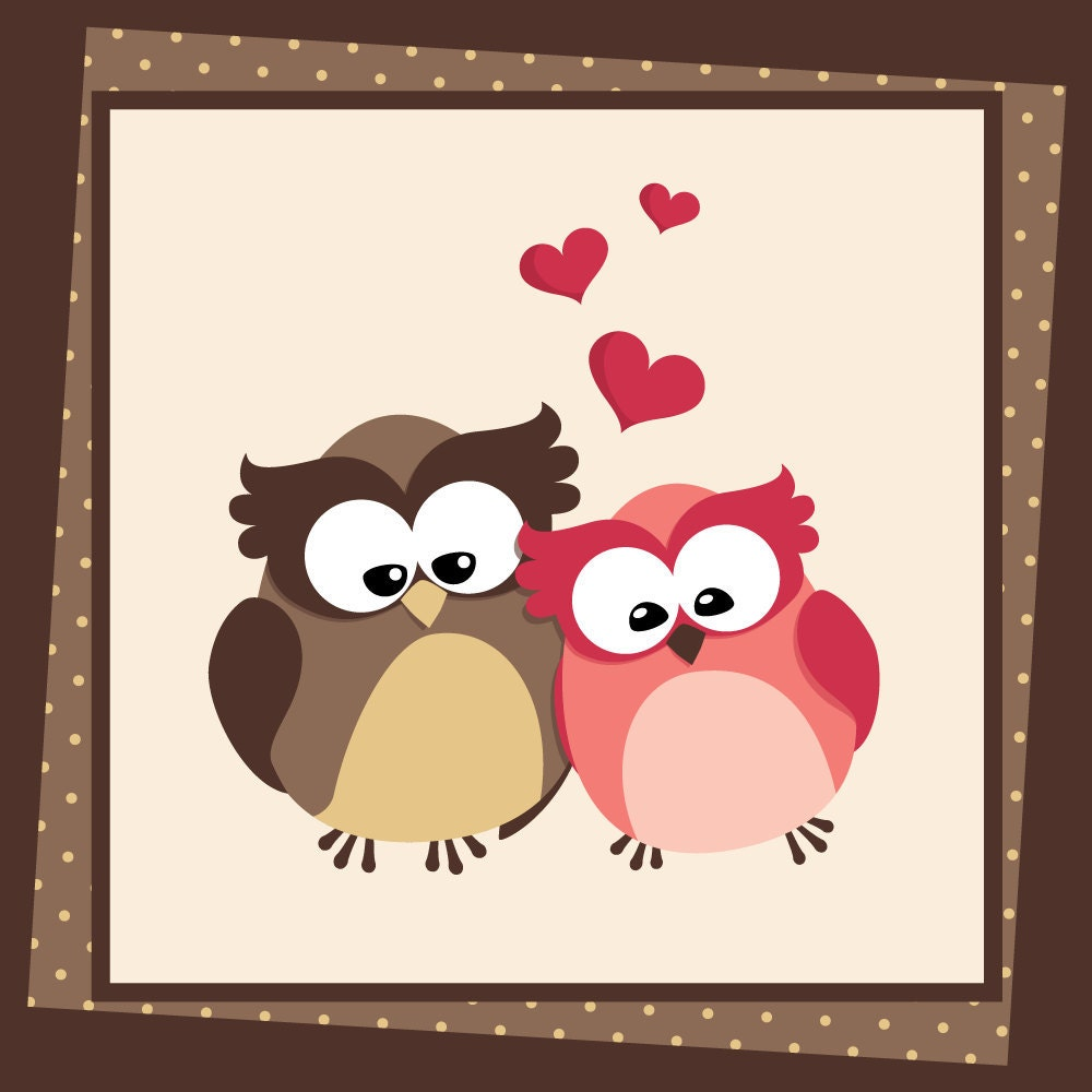 Valentine Owls Digital Clipart Love Owls with by viveradesign