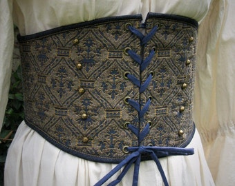 Gothic Blue Tapestry Waist Cincher Ready to Ship Waist 34 to 36 FREE SHIPPING