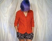 1970's Bright Red Woven Jacket with Red Orange Buttons and 3/4 Length Sleeves