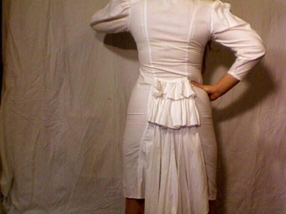 White Ruffle Zipper Dress