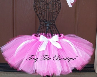 Hot Pink Glam-Hot Pink and White child/baby tutu with hairbow:  NEWBORN-5T