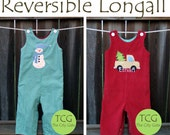 Boys Custom Made Reversible Longall with Monogram or Applique