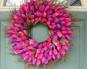 Spring Wreath - Mothers Day Wreath - Wreath for Door - Tulip Wreath
