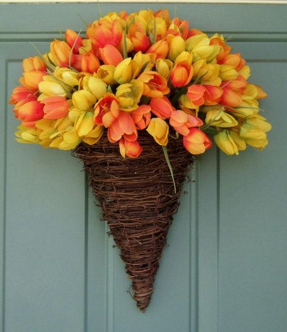 Spring Wreath - Mothers Day Wreath - Wreath for Door - Door Basket