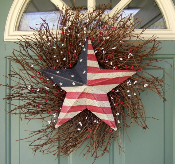 Summer Wreath - Patriotic Wreath - Star Wreath - Flag Wreath