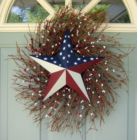 Summer Wreath - Patriotic Wreath - Fourth of July Wreath - Flag Wreath