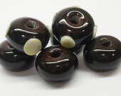 Chocolate and Cream Lampwork Beads