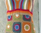 RESERVED for Janece Sublime Multicoloured Granny Square Cotton Halterneck Dress