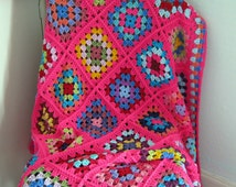Granny Squares Pink Crochet BLANKET Afghan Sofa Throw