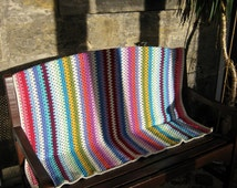 Fine Granny Stripes Crochet Blanket Afghan Sofa Throw Colorful