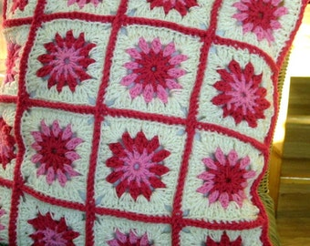 Crochet Pattern Pink Posy Flower Granny Square Cushion PDF