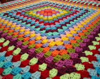 Crochet Rainbow Afghan Exquisite Granny Square Crocheted Blanket