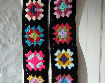Black Retro Crochet Granny Square Scarf Bang on Trend 2016