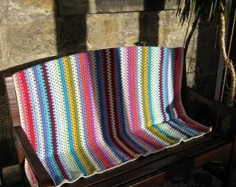 Fine Granny Stripes Crochet Blanket Afghan Sofa Throw Colorful