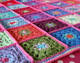 Candy Pink Gorgeous Granny Square Crochet Blanket Afghan Made To Order