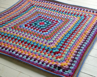 Sublime Crochet Afghan Blanket Rainbow Colors Granny Square Throw 40 x 40