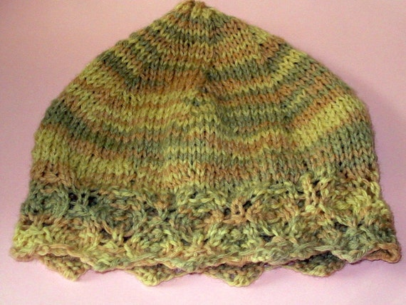 Knitting Pattern Islay Lace Detail Knitted Hat PDF Instant Download Lacy Pattern