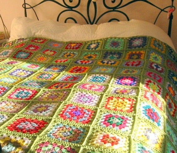 Crochet Afghan Blanket Granny Smith Apple Green Sofa Throw