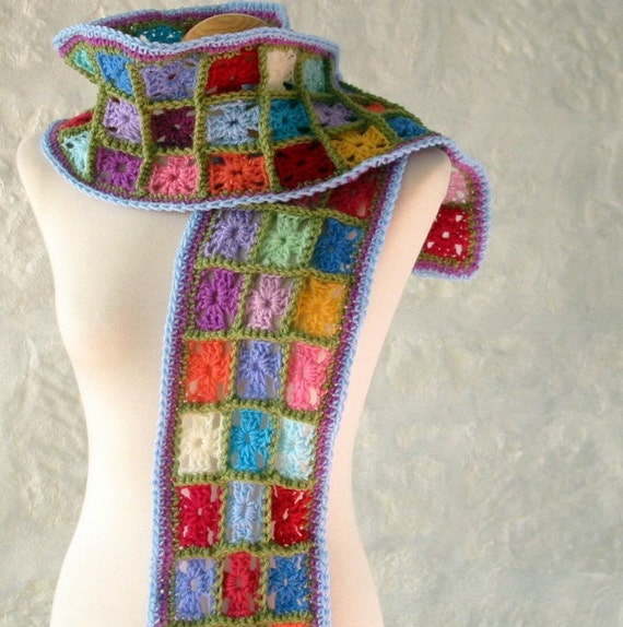Retro Multi Coloured Magic Tiny Bijou Granny Squares Crochet Scarf Wrap