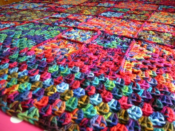 FLASH SALE 25% Off Heavenly Mirasol Crochet Granny Square BLANKET Afghan