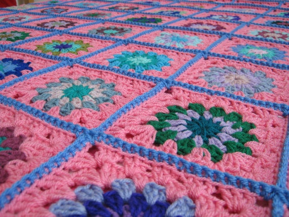 Powder Pink Large Granny Square Crochet Blanket Afghan Vintage Style 60 x 60