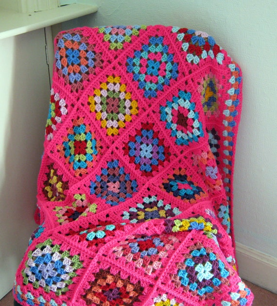 "Crochet Afghan Blanket Granny Squares Pink Crochet Sofa Throw 45"" x 45"""