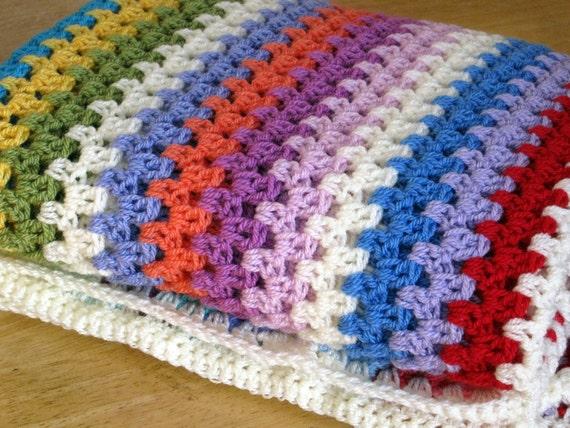 sublime fine granny stripes crochet blanket afghan sofa throw. Black Bedroom Furniture Sets. Home Design Ideas