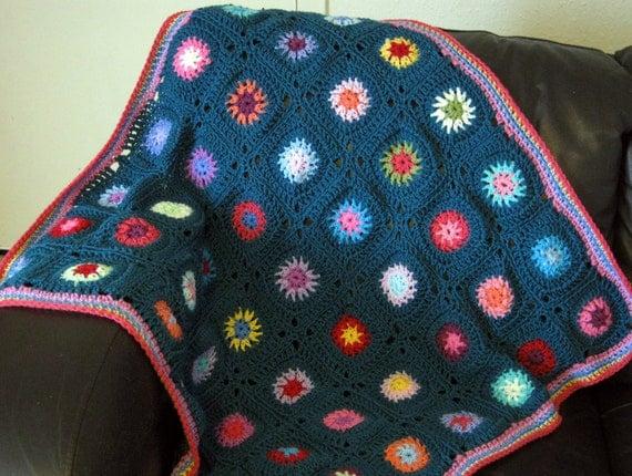 Teal Starburst Retro Style Granny Square Crochet Blanket Pattern PDF