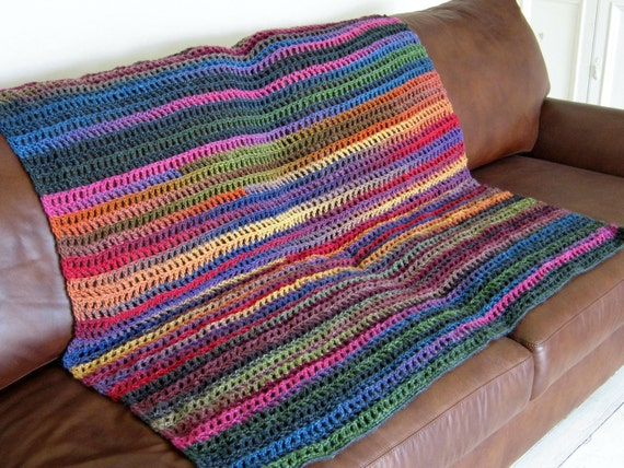 Crochet Stripes Multicoloured Wool Blend Blanket Afghan Throw Folk Boho Hippie