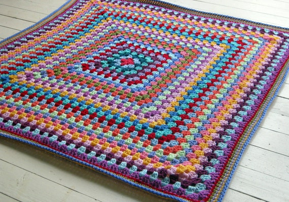 Crochet Afghan Blanket Vintage Style Granny Square Throw