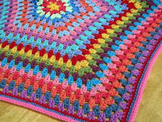 Bright Vibrant Cheerful Hexagon Granny Stripe Crochet Blanket