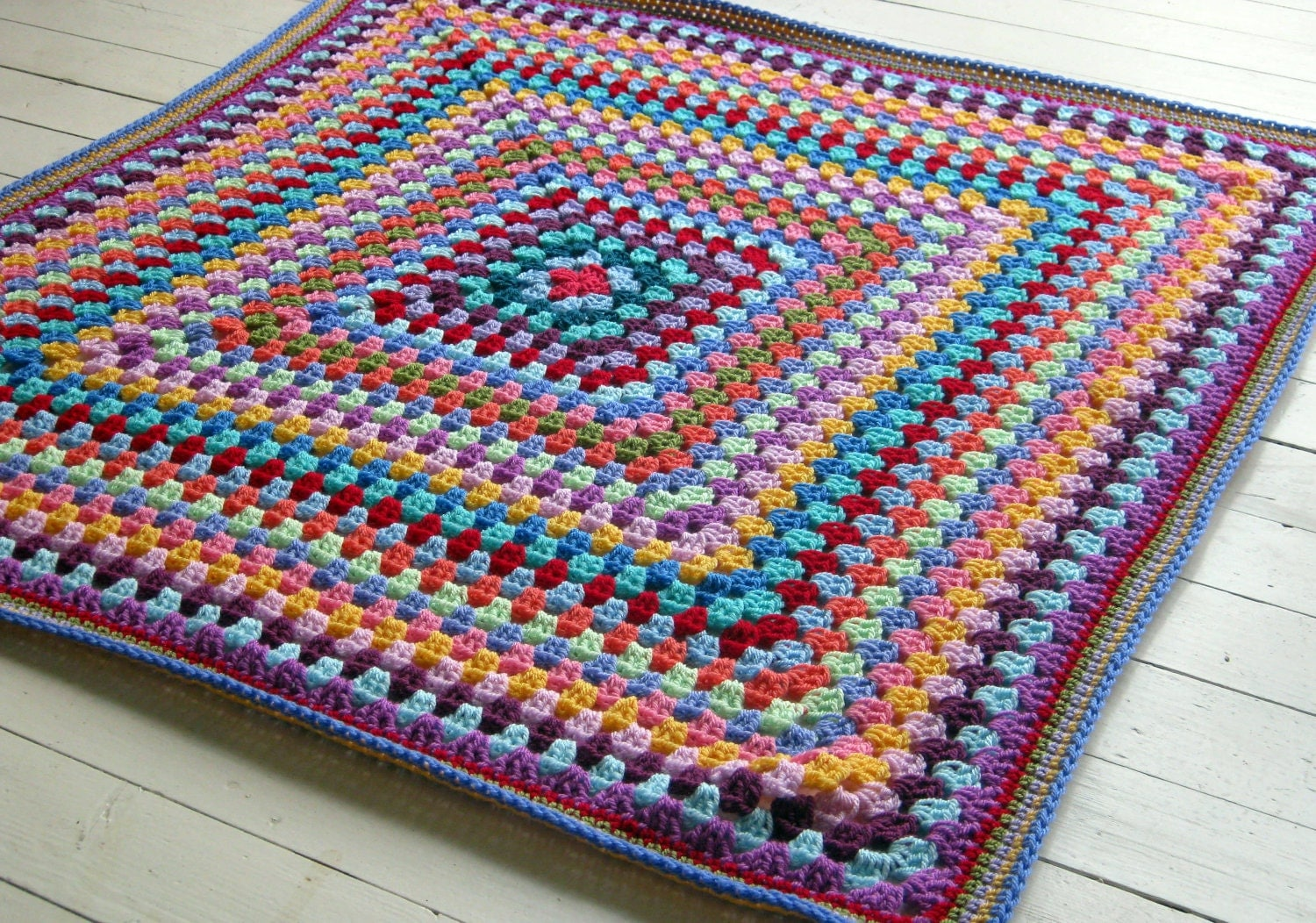 Crocheting Granny Square Blanket : Granny Square Crochet Blanket Rainbow Colors by Thesunroomuk