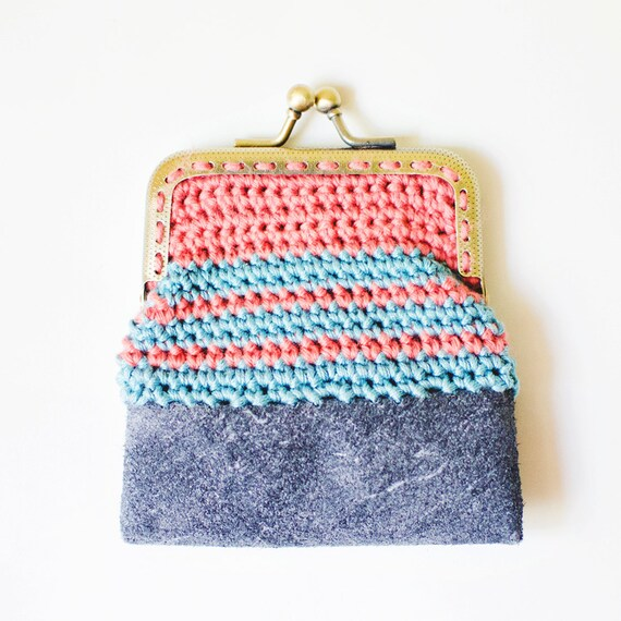 Reserved- Crochet and Leather: Coin Purse in coral & sky