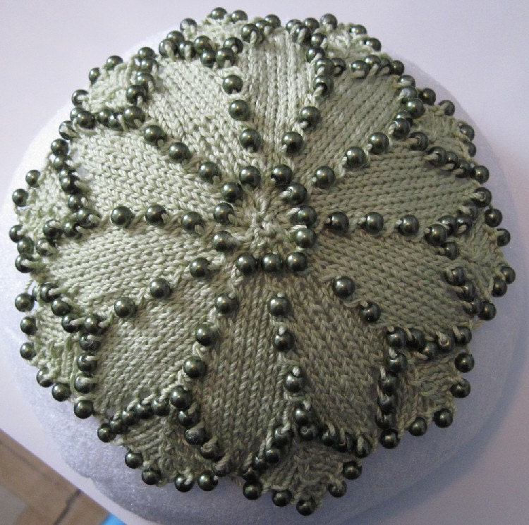 green pearls beaded kippah