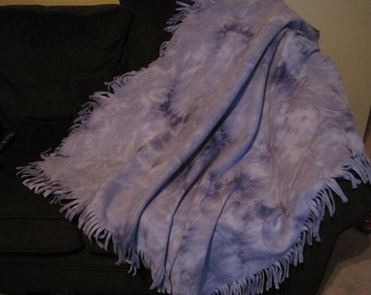 Handmade Purple Fleece Throw Blanket PURPLE PASSION Fringed Tie Dyed Sofa/Bed Throw-Children/Adults Boho Hippie Blanket-Purple Home Decor