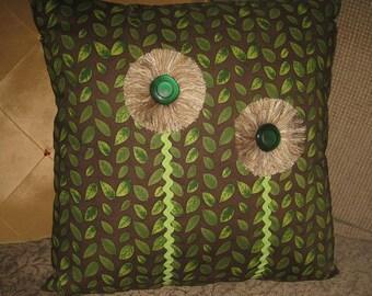 Handmade Brown & Lime Green Flower Pillow-HAPPY PLANET 3D Flower Art Pillow With Vintage Button-Boho Hippie Pillow-Green Pillow Rustic Decor