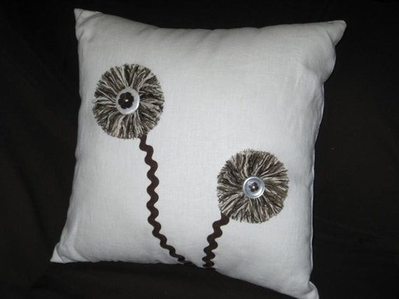 Handmade White Linen Pillow with Brown Fringe Button Flowers-White Home Decor Throw Pillow-70's Flower Power Pillow-Modern Farmhouse Decor