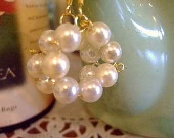 Handmade Pearl Earrings on Twisted Bronze, Hypo-A, Gift for Her, Unique Jewelry on Etsy, OOAK