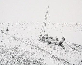 Shoreline - an original pen and ink drawing